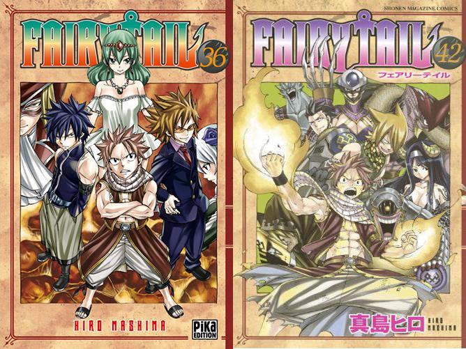 Couverture française et japonaise du manga Fairy Tail